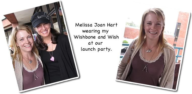 melissa joan hart wearing wishbone and wish at our launch party